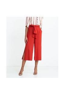 Calça Pantacourt Em Viscolinho Com Cós Elástico E Cinto Faixa | Marfinno | Vermelho | G