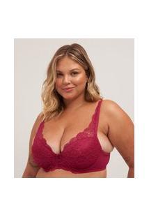 Sutiã Base Com Bojo Bolha Em Renda Curve & Plus Size | Ashua Curve E Plus Size | Vermelho | 54