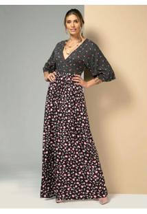 Vestido Floral Com Poá Preto Com Mangas Ampla