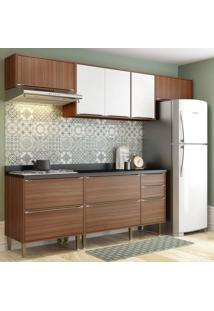 Cozinha Completa Balcão Com Tampo 6 Peças Calábria Multimóveis Nogueira/Branco