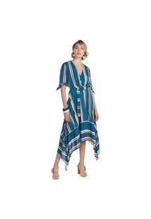 Vestido Maria Valentina Midi Decote Transpassado Com Metal Azul