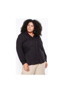 Camisa Almaria Plus Size Pianeta Viscose Jaquard Animal Print Preto