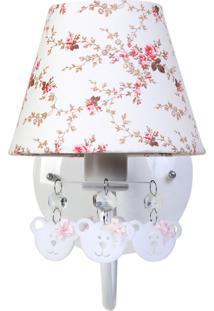 Arandela 1 Lâmpada Ursinhas Quarto Bebê Infantil Menina Potinho De Mel Rosa - Kanui