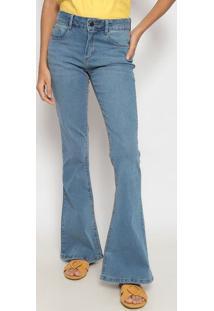 Jeans Flare Com Bolsos- Azul Claro- Heringhering