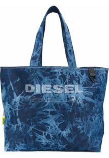 Diesel Bolsa Tote Tie-Dye Com Logo - Azul