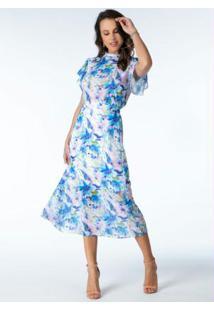 Vestido Midi Floral Desfocado Com Babados