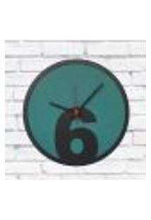 Relógio De Parede Sala Madeira Básico 6 Cor Verde 30X30X2Cm