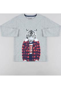 Camiseta Infantil Tigre Manga Longa Gola Careca Cinza Mescla