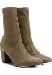 Bota Meia Cano Médio Shoestock Stretch Salto Grosso Feminina - Feminino-Cinza