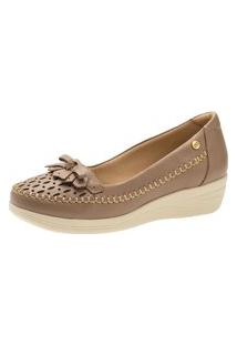 Sapato Anabela Doctor Shoes 7801 Couro Bege