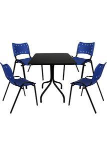 Jogo De Mesa Fixa 70 Por 70 Tampo Preto 4 Cadeiras Azul Plástico