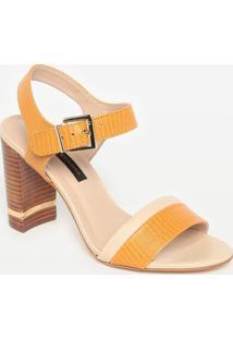 Sandália Em Couro Texturizado- Amarela & Bege Claro-Jorge Bischoff