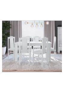 Conjunto Mesa Com 6 Cadeiras Brancas Lilies Móveis