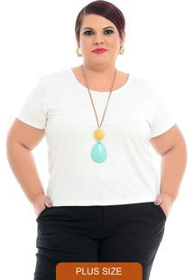 Blusa Básica Baby Look Off White Plus Size