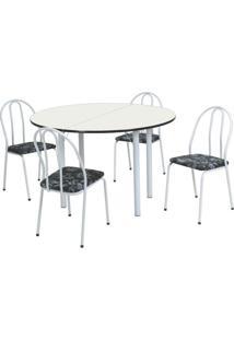 Conjunto De Mesa Com 4 Cadeiras Raquel Corino Branco E Preto