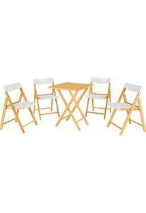 Jogo De Mesa Com Cadeiras Potenza- Natural & Branco-Tramontina