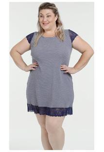 Camisola Feminina Canelada Listrada Renda Plus Size Marisa