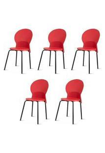Kit 5 Cadeiras Luna Assento Vermelho Base Preta - 57708 Mel