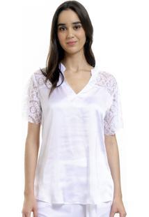 Camisa 101 Resort Wear Polo Cetim Renda Branco