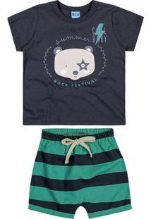 """Conjunto De Camiseta """"Cool Baby"""" + Bermuda - Azul Escurobitokinha"""