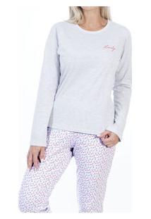 Pijama Longo Floral Mundo Do Sono (15.011822) Algodão
