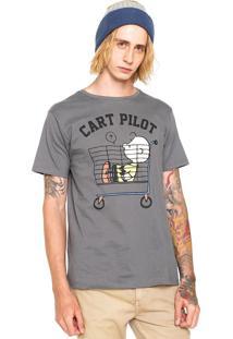 Camiseta Snoopy Cart Pilot Cinza