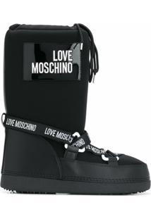 Love Moschino Bota Para Neve Com Logo - Preto