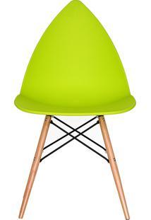 Cadeira P&W Plástico Pp E Base Em Madeira De Faia E Aço Verde - Orb