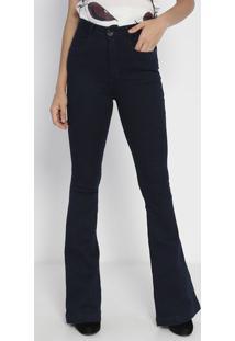 Jeans Flare Super High Com Bolso - Azul- Lança Perfulança Perfume