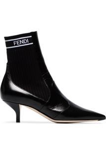 Fendi Ankle Boot '45' Com Logo - Preto