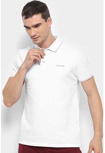 Camisa Polo Calvin Klein Relevo Masculina - Masculino-Branco