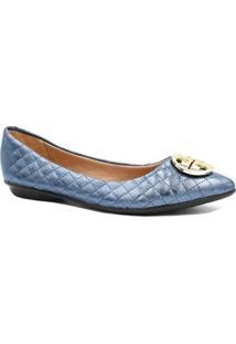 Sapatilha Zariff Shoes Matelasse Metal Feminina - Feminino-Azul