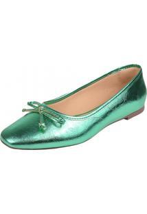 Sapatilha Feminina Rasteira Dona Madame 359031 Verde - Kanui