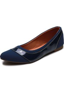 Sapatilha Dafiti Shoes Recorte Azul - Azul - Feminino - Dafiti
