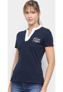 Camisa Tommy Hilfiger Gola V Feminina - Feminino-Azul