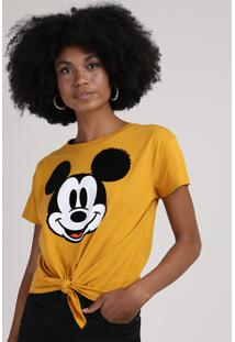 Blusa Feminina Mickey Com Nó Manga Curta Decote Redondo Mostarda