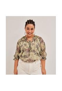 Blusa Chiffon Estampada Amarração No Decote Curve E Plus Size Verde