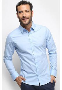 Camisa Colcci Fit Manga Longa Masculina - Masculino-Azul
