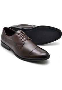 Sapato Social Couro Soft Amarraração Reta Oposta Masculino - Masculino-Marrom