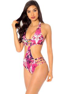 Maiã´ Mos Beachwear Sulu Estampado Lionfish - Rosa - Feminino - Dafiti