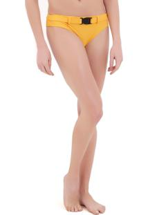 Calcinha Rosa Chá Nina Canelado Yellow Beachwear Amarelo Feminina (Amarelo Medio, Pp)