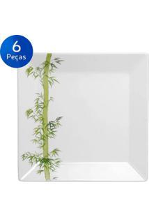 Conjunto De Pratos Rasos 6 Peças Quartier Bamboo - Oxford - Branco