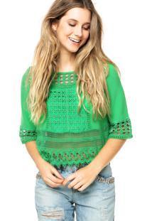 Blusa Colcci Crochê Verde