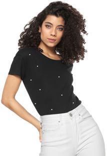 Camiseta Planet Girls Pérolas Preta