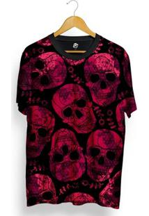 Camiseta Bsc Full Print Pink Skull - Masculino-Preto