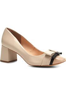 Scarpin Shoestock Salto Médio Laços - Feminino-Bege