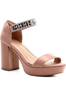 Sandália Shoestock Meia Pata Cetim Pedraria Feminina - Feminino-Nude