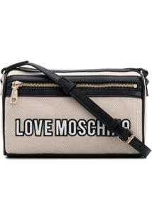 Love Moschino Bolsa Transversal Com Recorte De Mesh - Neutro