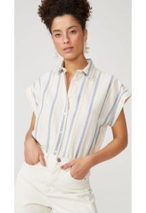 Amaro Feminino Camisa Algodão Listrado Pala Costas, Listras Marinho