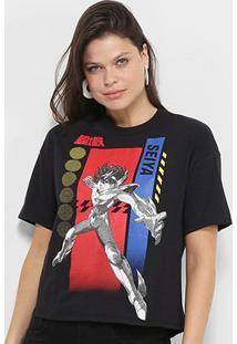 Camiseta Ellus 2Nd Floor Cavaleiros Do Zodíaco Seiya Feminina - Feminino-Preto
